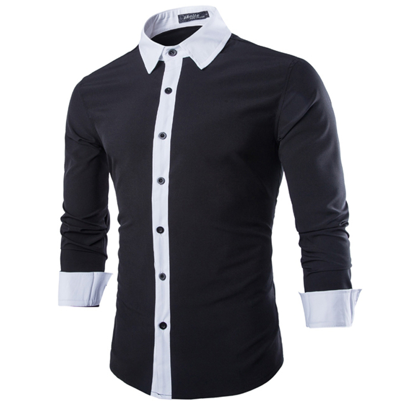 1f36f3874f66 Brand Men Shirt Chemise Homme 2015 Fashion White Black Patchwork Design Mens  Slim Fit Long Sleeve