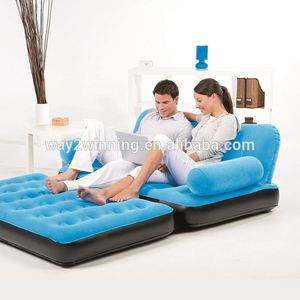 5 in 1 Inflatable flocked air mattress sofa sleeping lounger bed