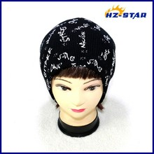 HZM-12070001 winter warm 100% acrylic children's knitted printed cap china hat