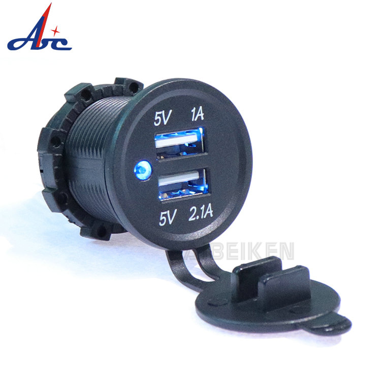 Waterdichte LED Light Ring 3.1A Dual Port Socket Mobiele Telefoon USB Auto Lader voor Auto Motor Bus Boot Marine Truck fiets