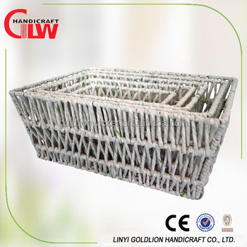 Home Storage Paper Rope Weaving Rectangle Storage Baskets