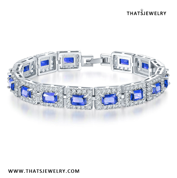18K Gold Plated Created Sapphire CZ Prong Setting Octagon Bridal Wedding Bracelet