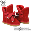 Double lace fur lined simple winter boots kids boots wholesale