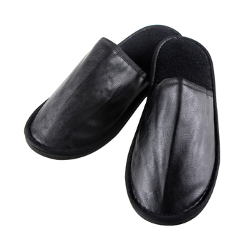 1e195e4dd Disposable Slippers Home Black Indoor Hotel Bedroom Leather Slipper ...