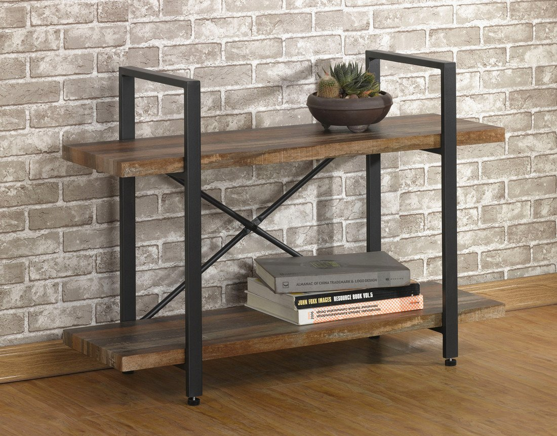 Buy O K Furniture 2 Tier Rustic Wood And Metal Bookshelves