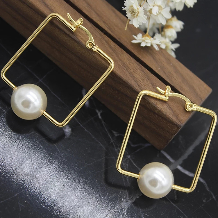 New Arrival Earrings For Women Gold Plated Earring Square  Pearls Earrings