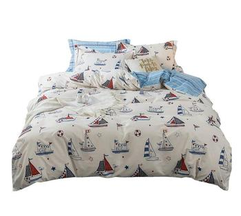 Cotton Kids Cartoon Duvet Cover Set Queen Size Nautical Sailboat Yacht Crinkle Pattern Printed Blue Comforter Cover Full for Tee