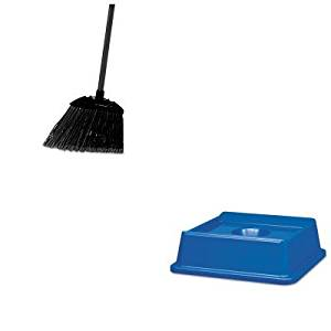 KITRCP2791BLURCP637400BLA - Value Kit - Rubbermaid 2791 Untouchable Bottle and Can Recycling Top for 3958-06, 3959-06 Containers (RCP2791BLU) and Rubbermaid-Black Brute Angled Lobby Broom (RCP637400BLA)