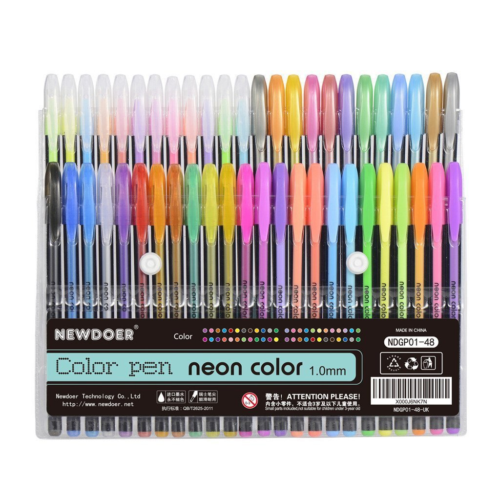 Newdoer 48 Packs Color Gel Ink Pens,The Best Gel Pens Set for Adult Colouring Books,Draw,and Write,with 1.0mm Tip Range (12 Metallic + 12 Glitter + 12 Neon + 12 WaterChalk)