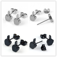 Best selling fashion stainless steel sign language hand earring for men