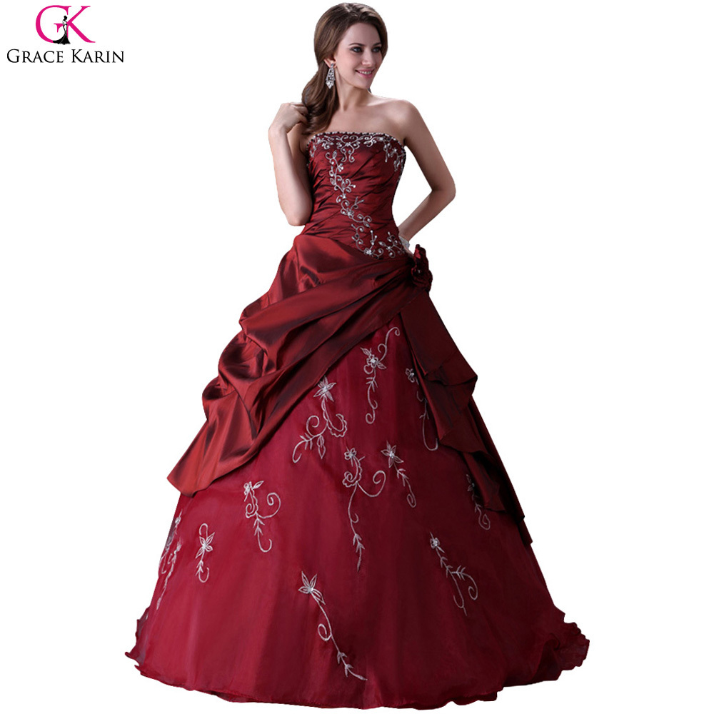 2015 Elegant Grace Karin Lace Up Long Satin Burgundy Princess Wedding Dress Wine Red Ball Gown Weddingdress Party Dresses CL2516