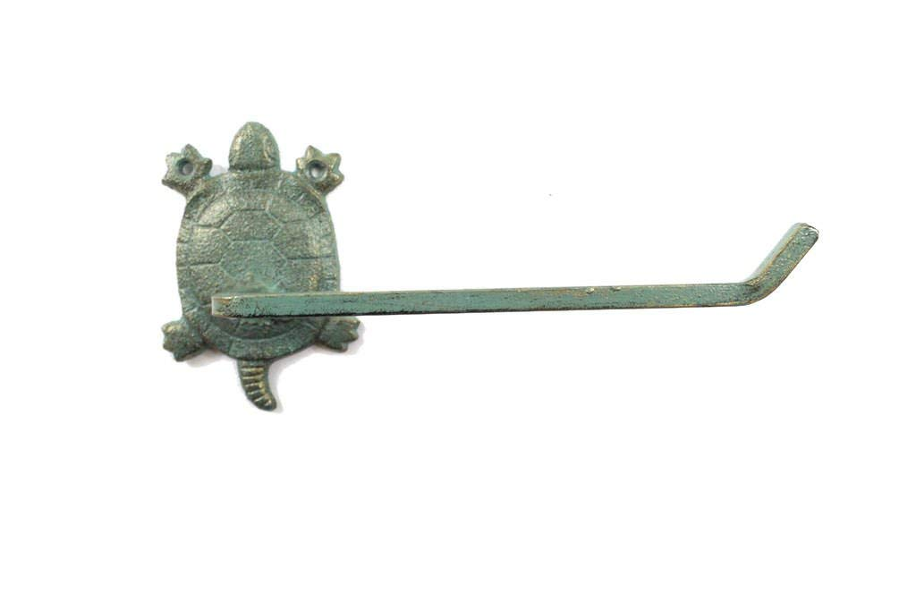 "Handcrafted Model Ships Antique Seaworn Bronze Cast Iron Decorative Turtle Toilet Paper Holder 10"" - De"