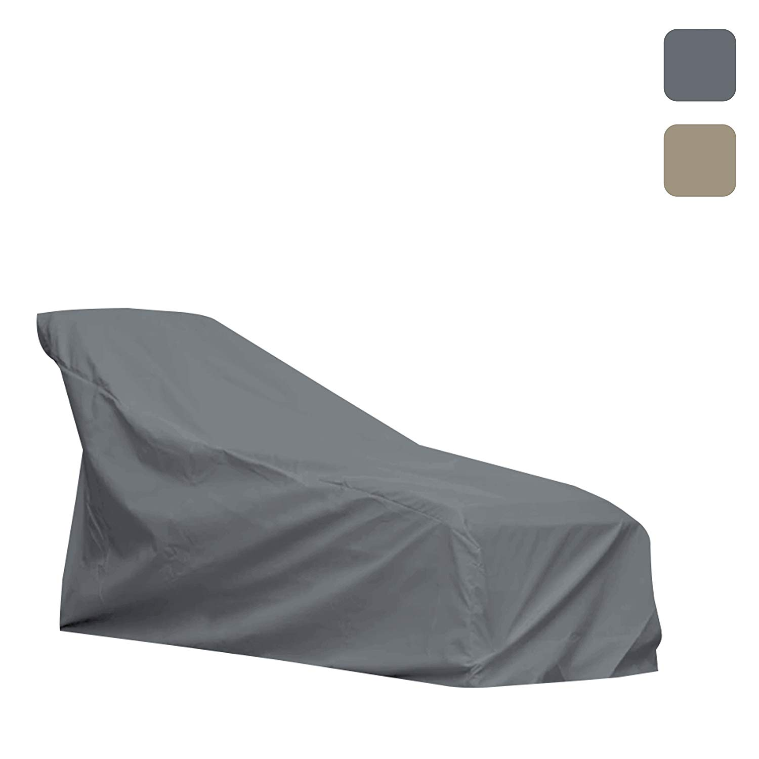 Patio Chaise Lounge Cover- Waterproof, Air vents, 100% UV-Resistant, 1000 D Both Side PVC Coated, Outdoor Furniture Chaise Covers with Drawstring for Snug fit to Withstand Winds & Storms, Grey