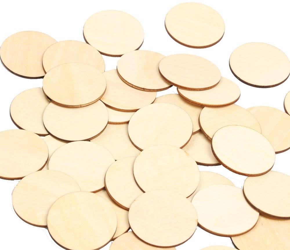 """RERIVER 2"""" Unfinished Round Wooden Disc Blank Wood Cutout Circles Slices Discs DIY Crafts(50pcs)"""