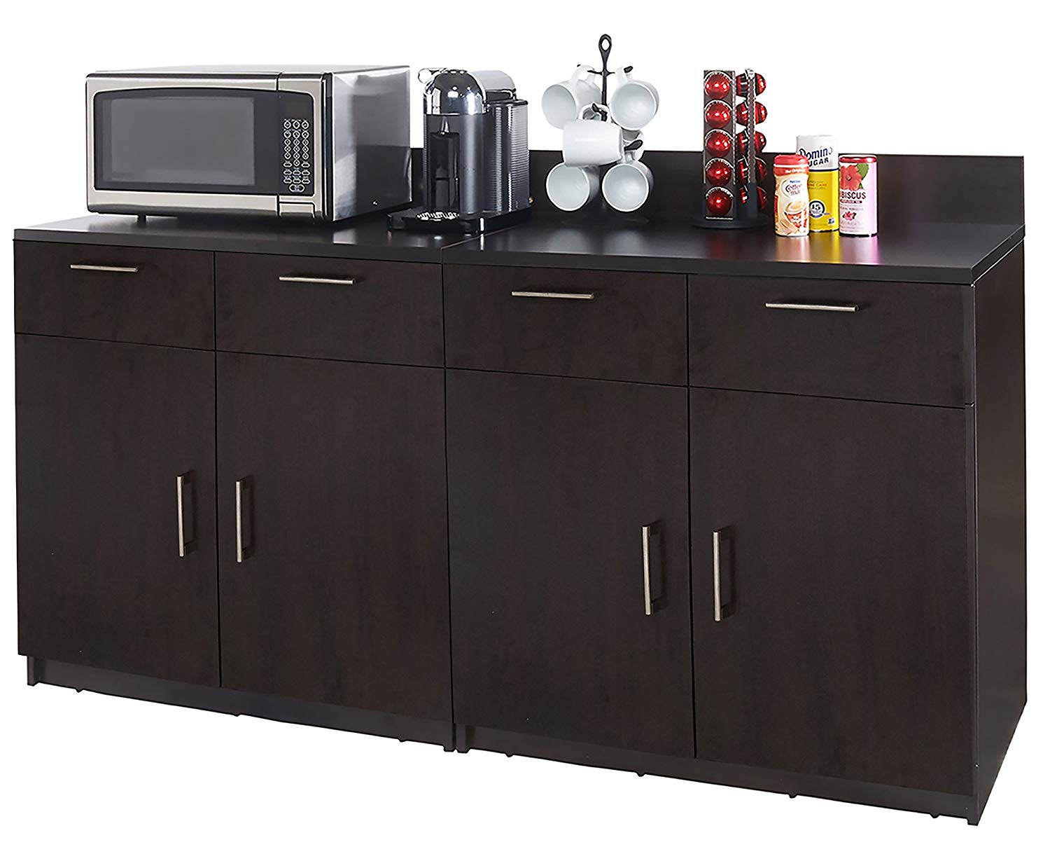 Coffee Kitchen Lunch Break Room Cabinets Model 4346 BREAKTIME 2 Piece Group Color Espresso - Factory Assembled (NOT RTA) Furniture Items ONLY.