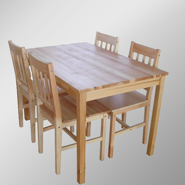 Solid Pine Dining Table And Chair Sets/ 1+4 Dining Table And Chairs