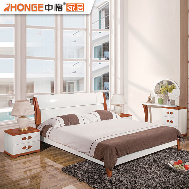 foshan modern wooden shining white mdf home fancy bedroom furniture full sets - White Wood Bedroom Furniture
