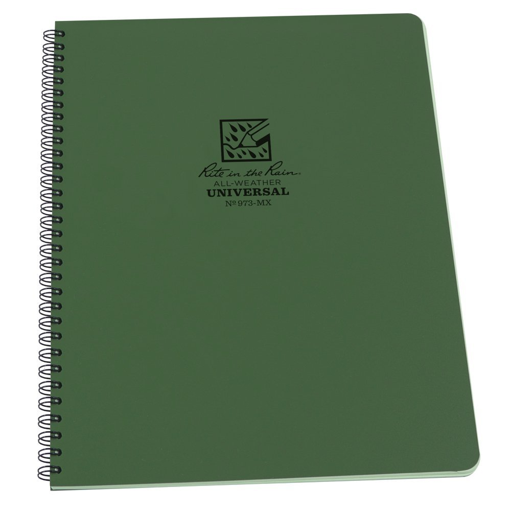 "Rite in the Rain All-Weather Side-Spiral Notebook, 8 1/2"" x 11"", Green Cover, Universal Pattern (973-MX)"