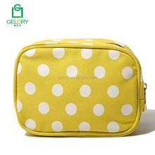 2017 Hot sell high quality polka dots print yellow color custom canvas cosmetic bag