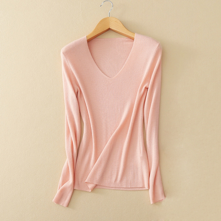 100% cashmere soft and warm sweater women knitted V neck pullover