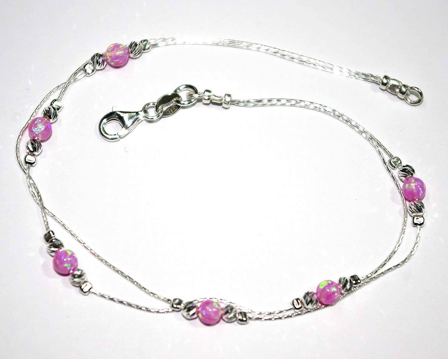 Genuine 925 Sterling Silver Chains and Laser Cut Beads with 4mm Pink OPAL Beads TWO STRANDS ANKLET - Made to your size