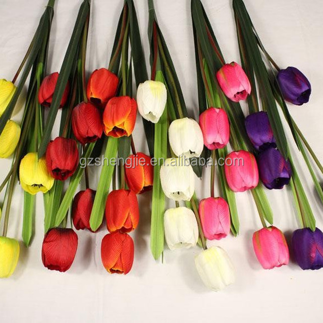 SJYYJX05 colorful synthetic silk tulip , cheap wholesale artificial flowers