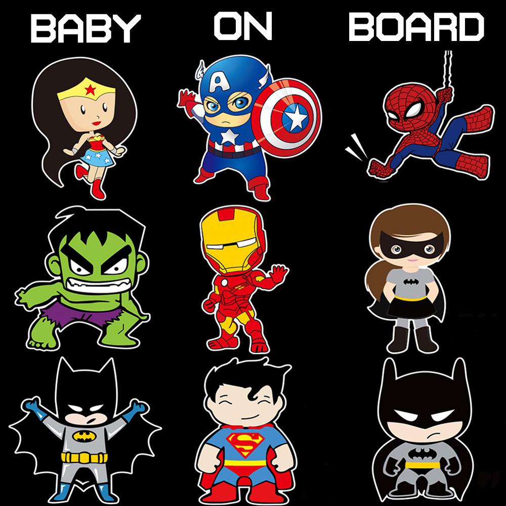 Super Héros Bébé à Bord Réfléchissante Voiture Décoration