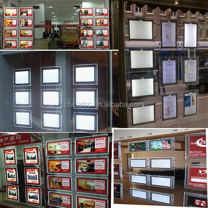Acrylic Illuminated LED Cable Suspended Real Estate LED Window Display LED Light Pockets Slim LED Light Box