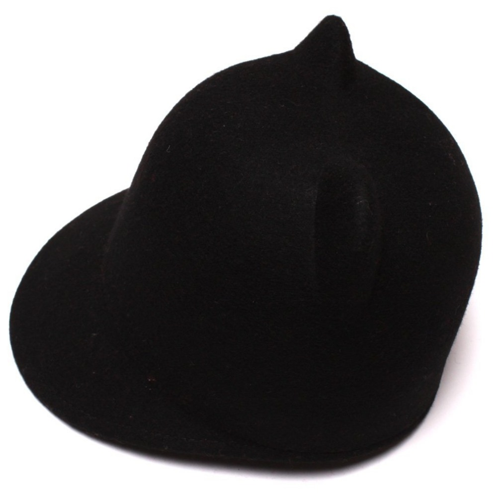 100 Wool Girl Boy Child Fedoras hat With mickey cat ear Cap size 52 54CM For
