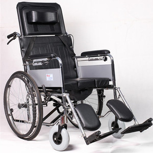 steel frame high back folding reclining commode wheelchair