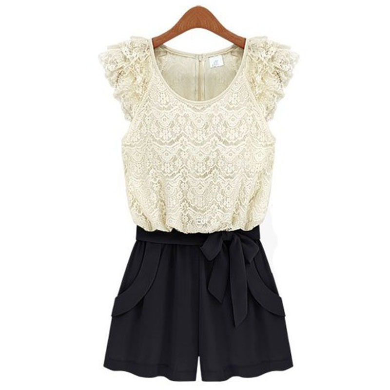 365aa27f1e09e Get Quotations · Summer Women Jumpsuits Short Sleeve O-Neck Overalls Slim  Lace Bodysuit Ladies Shirts S M L XL