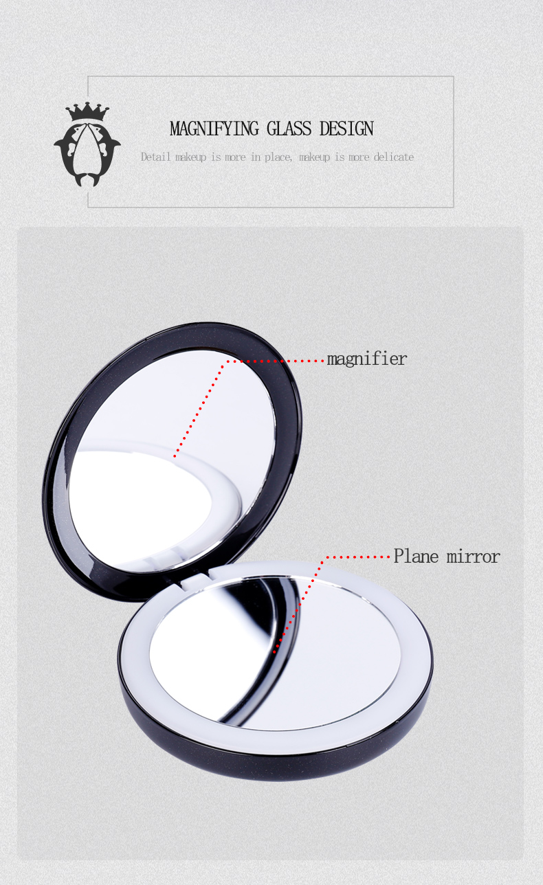 2019 new design 빛 pocket mirror led mirror 메이 컵 메이 컵 mirror 와 power bank