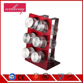 stainless steel red Condiment Set spice rack Simple design spice rack stainless steel