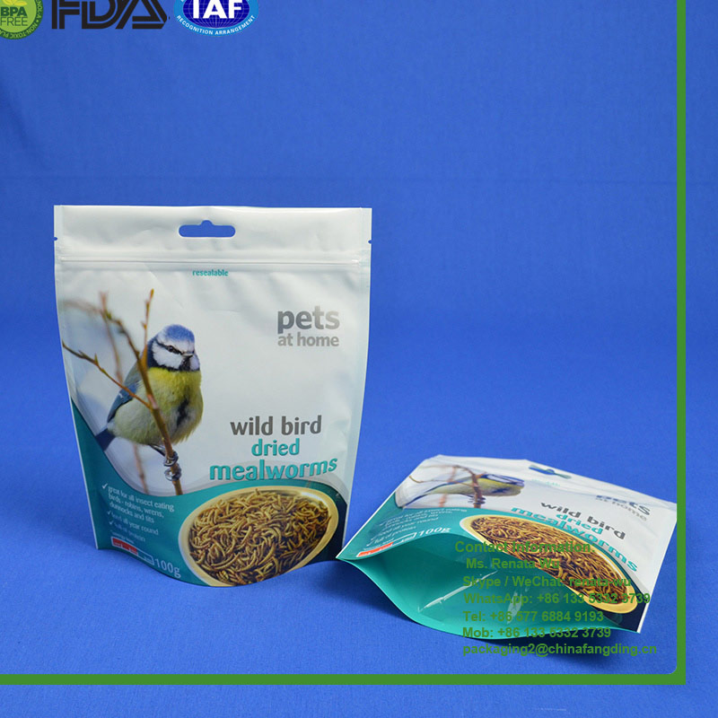 plastic stand up wild bird seeds food packaging bag pouches