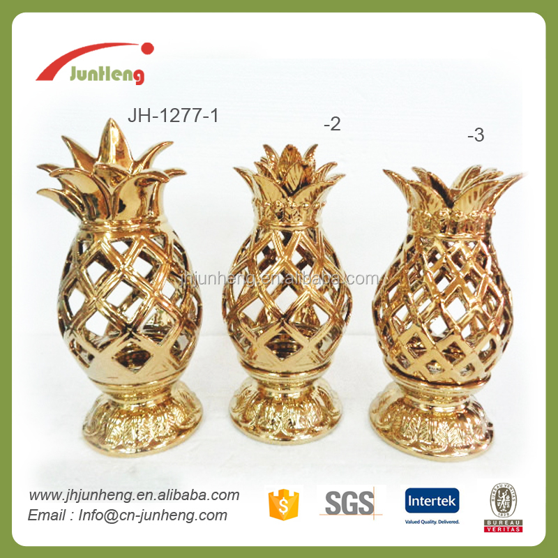 electroplate ceramic pineapple decoration, ceramic pineapple decoration, home decoration ceramic pineapple