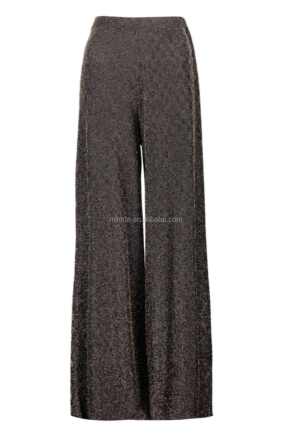 ab0339188e305 Women plus size palazzo pants Fashion Casual Pants Metallic Trouser Pants  Wide Leg