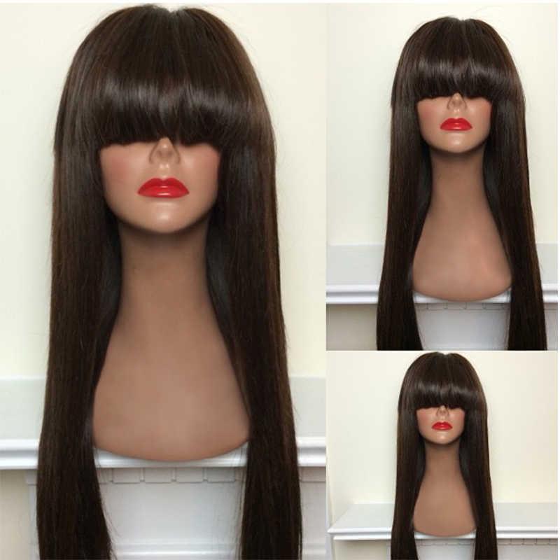 7A Unprocessed Virgin Hair Straight Full Lace Human Hair Wigs Lace Front with Bang