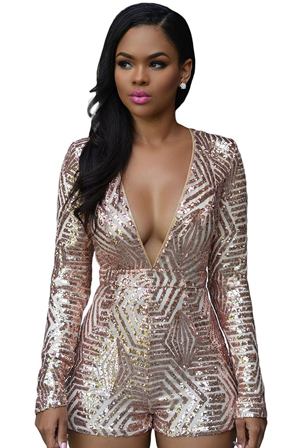 593ecfcf6844 Get Quotations · Women Sexy Long Sleeve Backless Deep V Neck Sequin Bodycon Shorts  Jumpsuit Romper