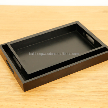 Sensational Rectangle Wooden Serving Tray Black Lacquered Pine Wood Tea Table Trays With Handle Buy Black Tray Black Rectangular Trays Rectangle Wooden Serving Dailytribune Chair Design For Home Dailytribuneorg