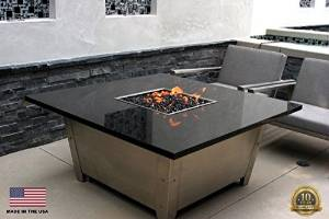 COOKE Newport Fire Pit Table by Cooke Contemporary Furniture-Natural Gas-Copper Canyon Granite-Stainless Steel-Electronic