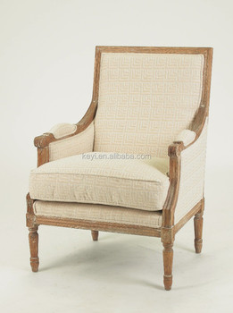 Living Room Use Antique Hand Carved Wood Chairs/ Home Furniture Fabric  Armchair (CH
