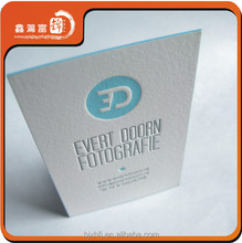 400gsm cotton paper white letterpress business cards design
