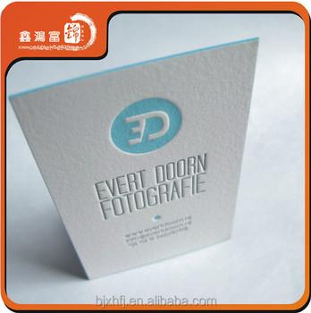 400gsm Cotton Paper White Letterpress Business Cards Design