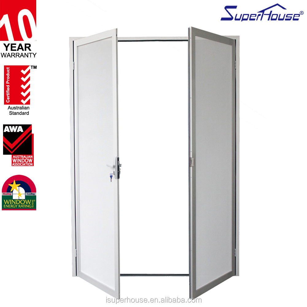 China Supplier Fire rated Aluminium mesh security Entry Casement door With Hopo Hardwares For outside the exterior door