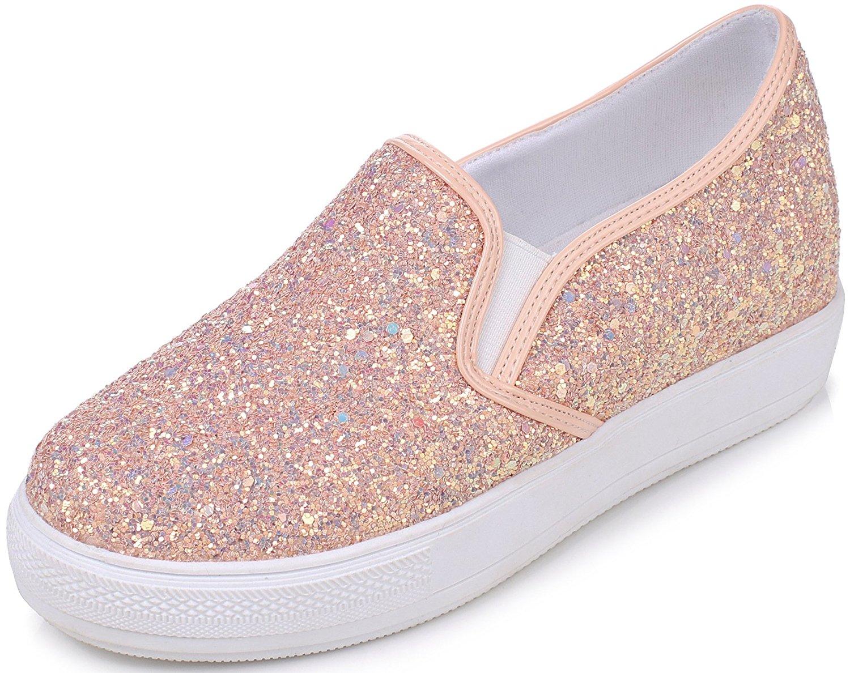 24d0686d150a14 Get Quotations · DoraTasia Women s Fashion Glitter Sequin Slip On Low Heel  Loafers Hidden Heel Wedges Platform Sneaker Shoes