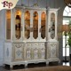 European classical furniture European Style 6 Doors Wooden Bookcase In White Color