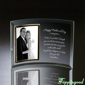 Happy Father's Day Hot Selling Curved Transparent Clear Glass Picture Frame