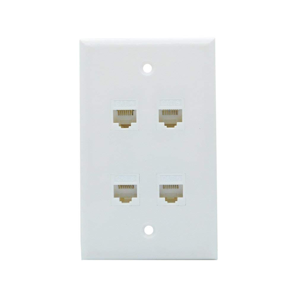 Cheap Wall Plate Ethernet Find Deals On Line At Tv Wiring Plates Get Quotations 4 Port Cat6 Cable Female To White