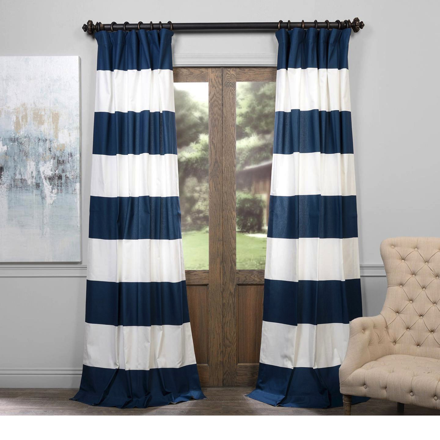 1 Piece Dusk Blue Off White 96 Inch