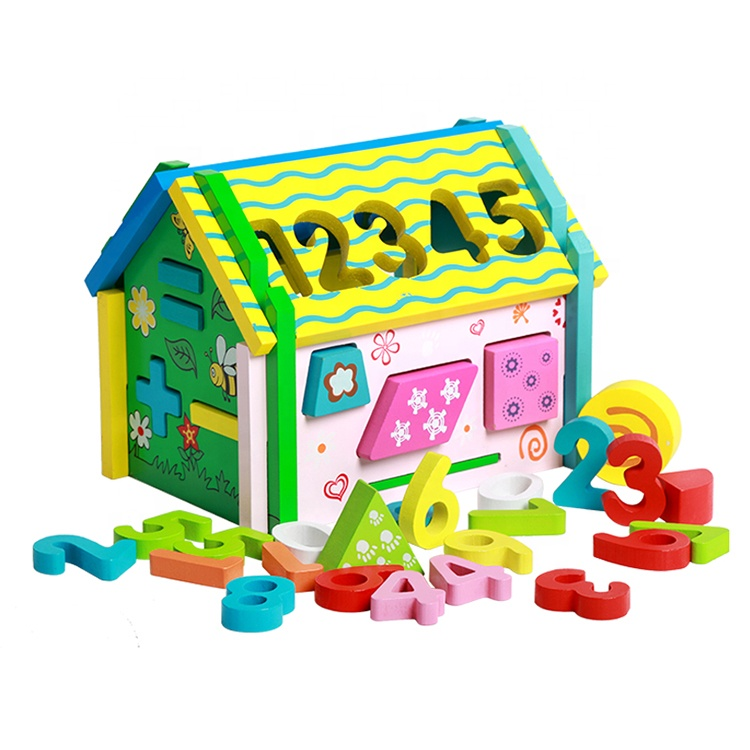 Cognitive Educational Toys Geometric Shape Sorter Blocks Diy Assemble Toy Wooden Intelligent Box House